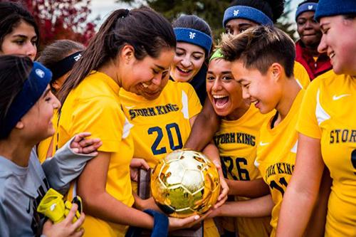 Storm King School girls soccer team celebrates a win