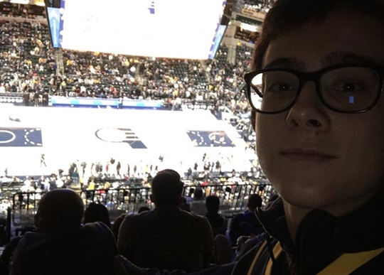 Lorenzo enjoys a basketball game in Indianapolis.