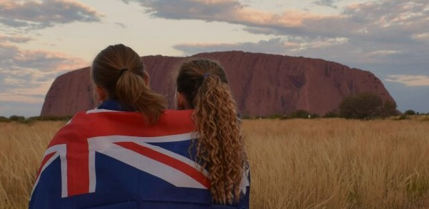 Exchange students at Ayers Rock