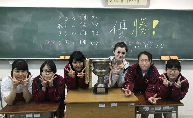 Classmates in a classroom in Japan