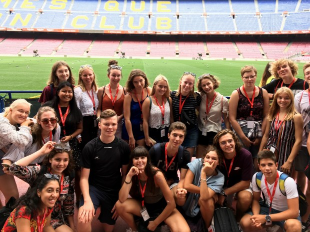 group of exchange students at camp nou in barcelona