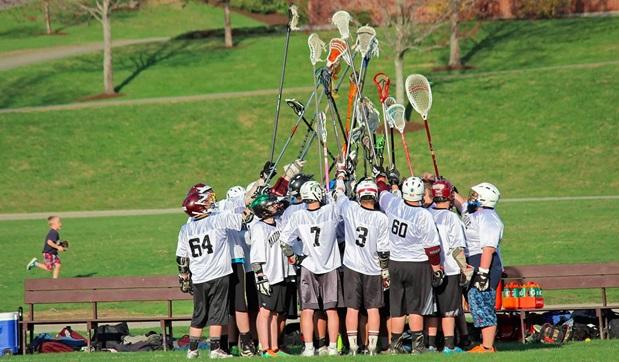 Lacrosselag inför match - på internatskola i USA