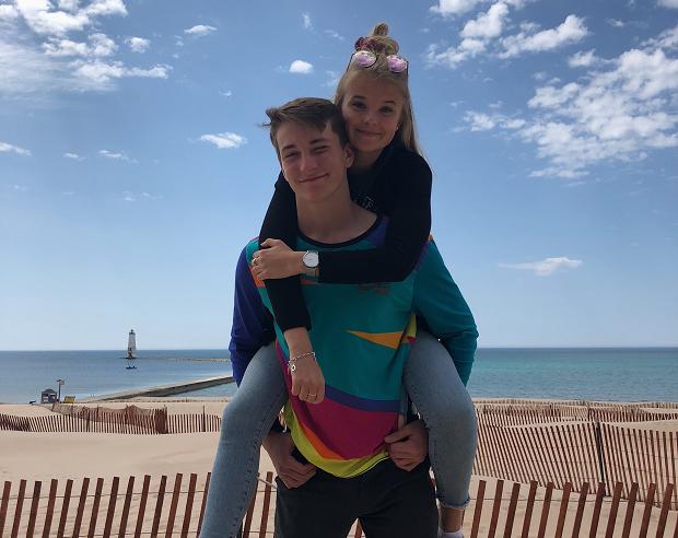 på stranden i Michigan