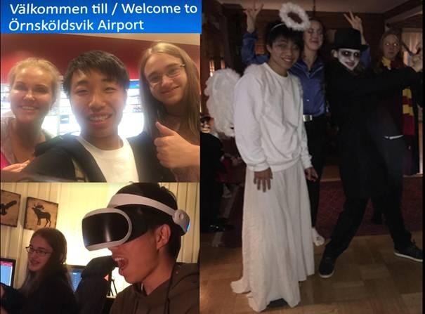 Kazuto på Örnsköldsvik flygplats, halloweenfest och med VR-glasögon