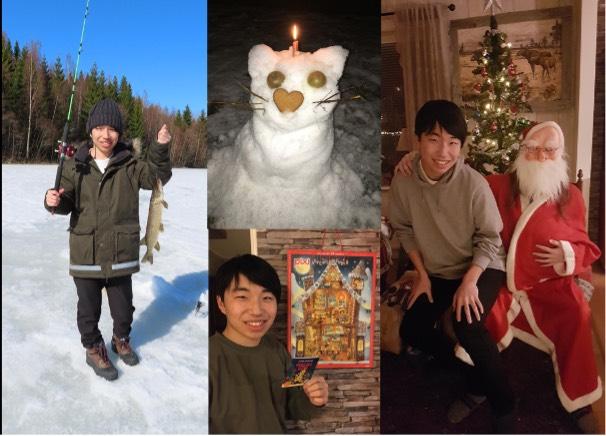 Kazuto pimplar, leker med snö, öppnar adventskalender och sitter i tomtens knä
