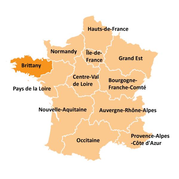 Kart over Bretagne i Frankrike