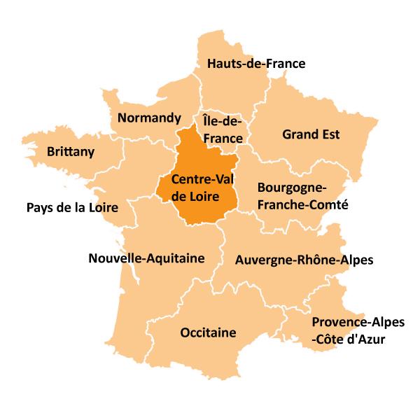 Kart over Centre-Val de Loire i Frankrike