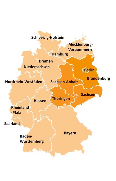 Kart over områdevalg i Øst-Tyskland