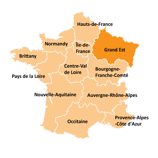 Kart over Grand Est i Frankrike