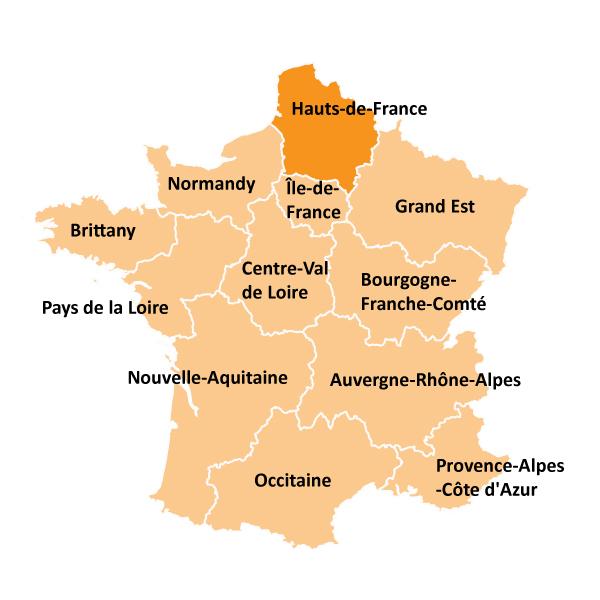 Kart over Hauts-de-France i Frankrike