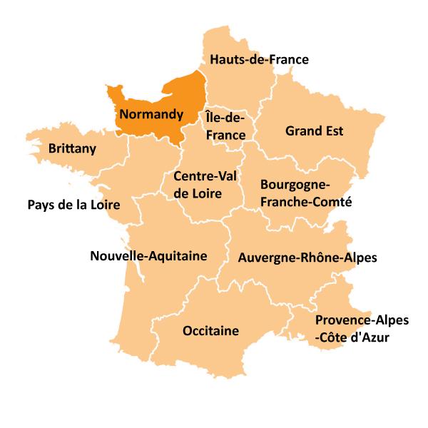 Kart over Normandie i Frankrike