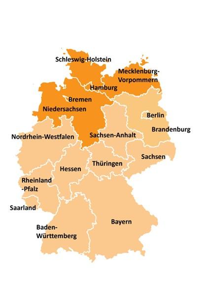 Kart over områdevalg i Nord-Tyskland