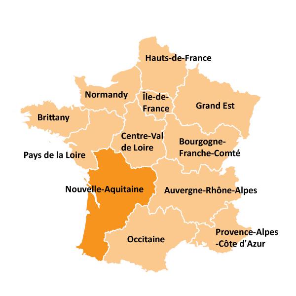 Kart over Nouvelle-Aquitaine i Frankrike