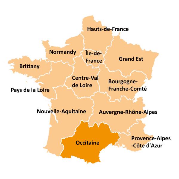 Kart over Occitaine i Frankrike