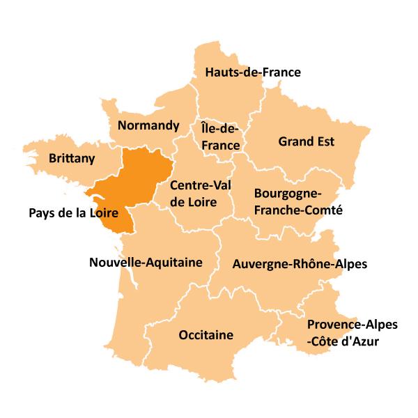Kart over Pays de la Loire i Frankrike