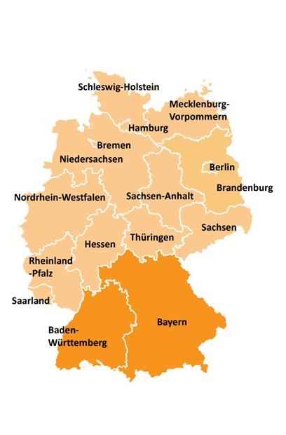 Kart over områdevalg i Sør-Tyskland