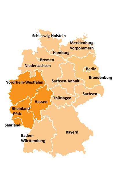 Kart over områdevalg i Vest-Tyskland