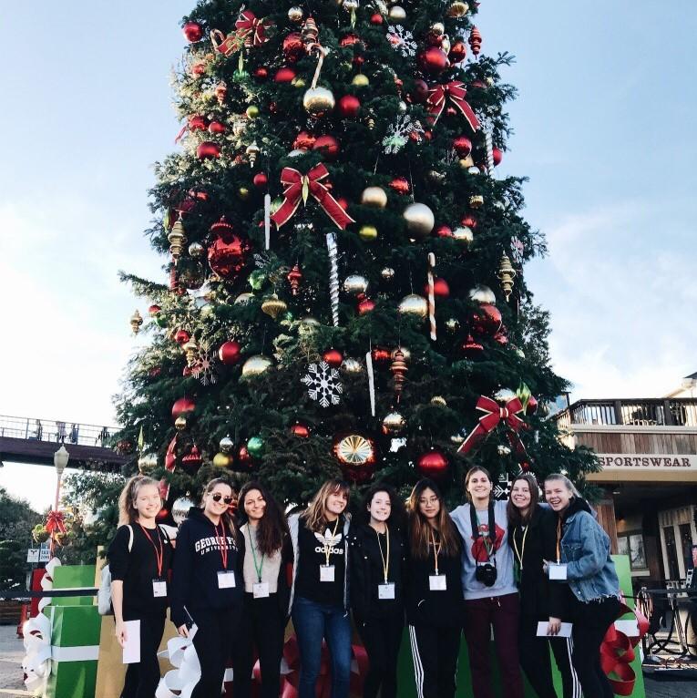 Exchange students and christmas tree