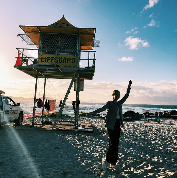 Exchange student on the beach