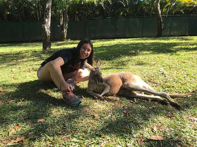 Exchange student meets kangaroo