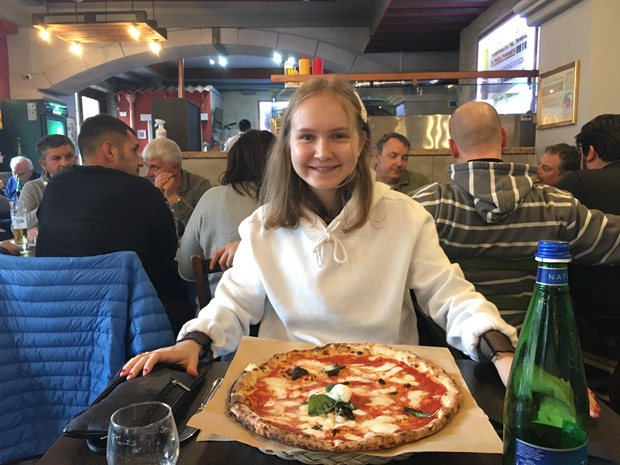girl with a pizza