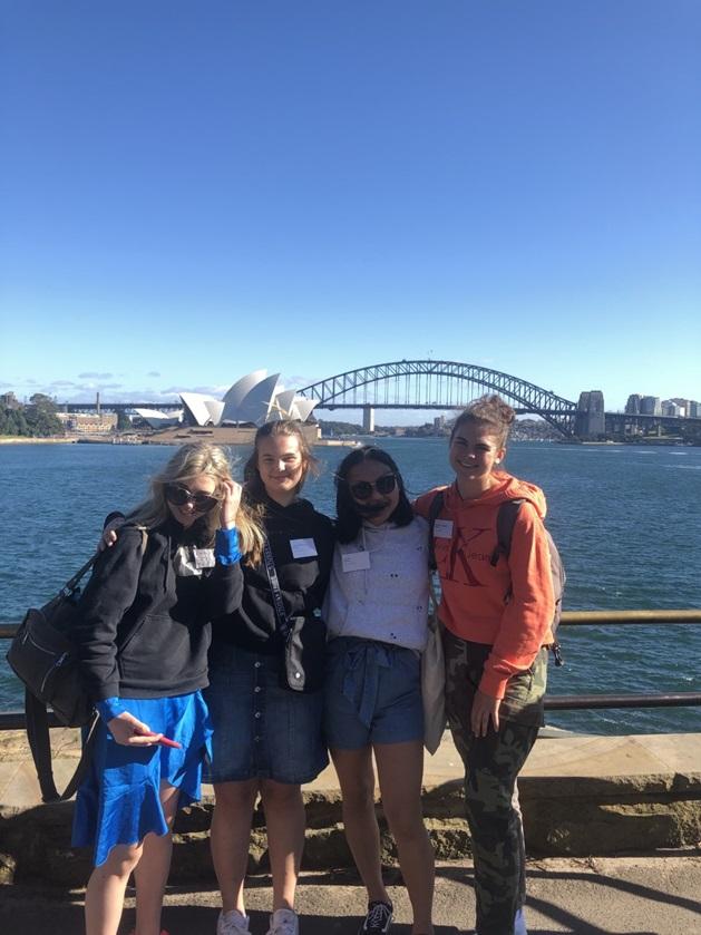 Fire utvekslingsstudenter i Sydney