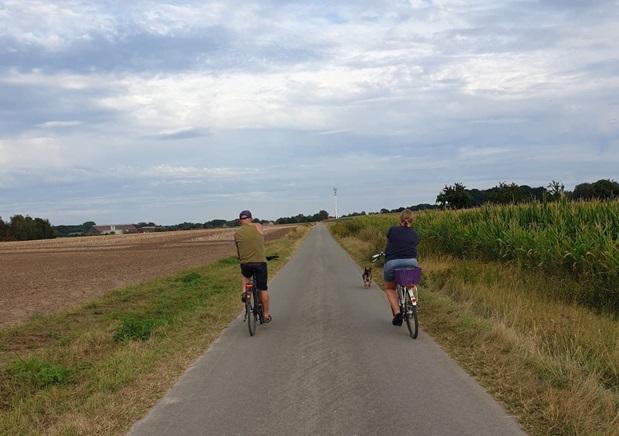 To som sykler langs en vei