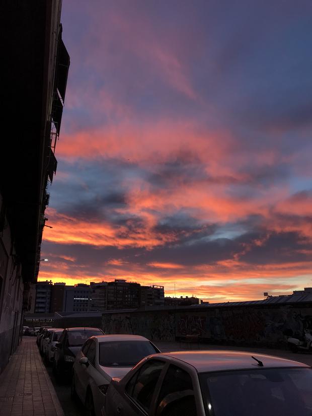 Rosa himmel vid solnedgång