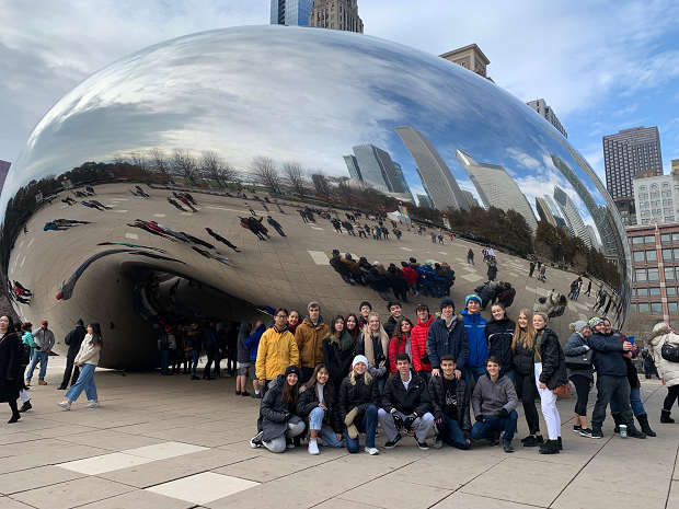 Grupp utbytesstudenter i Chicago