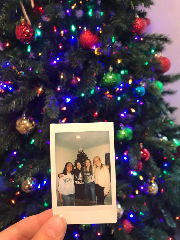 Polaroidbild på gran
