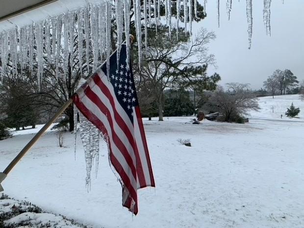Snö i Alabama, USA