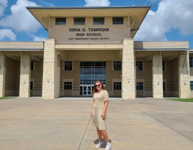 Ellen infront of Obra D. Tompkins High School