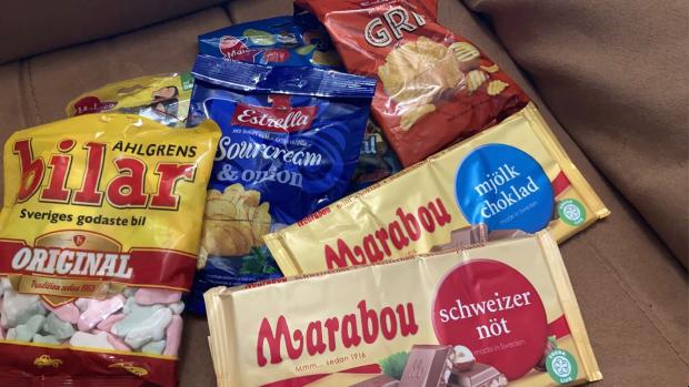 Svenskt godis skickat från Explorius till utbytesstudent