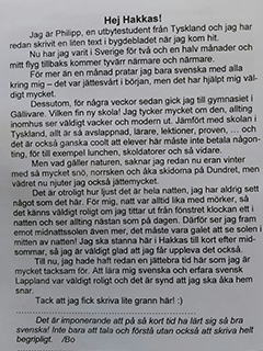 Tidningsartikel skriven av tysk utbyteselev på utbyte i Hakkas, Norrbotten