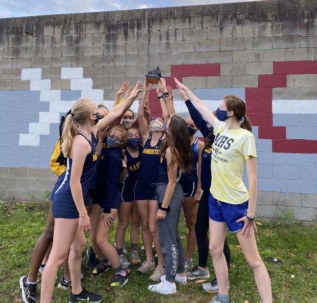 Cheerleading tävling med Manistee High School, Michigan, USA