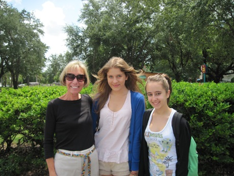 Marta with Host Mom and Host Sister on her First Day in the States