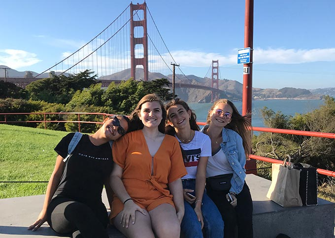 Group of students viewing the Golden Gate Bridge, on San Francisco