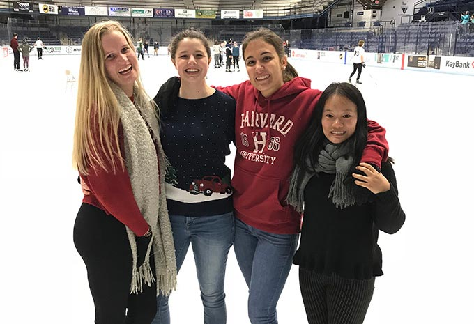 International students from Orono High School have fun at the ice rink