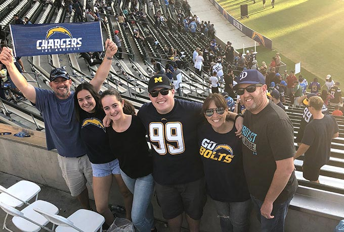 Emma from Austria at a San Diego Chargers game with her Host family