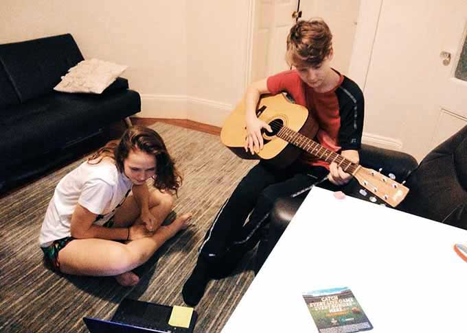 Learing guitar with my host brother