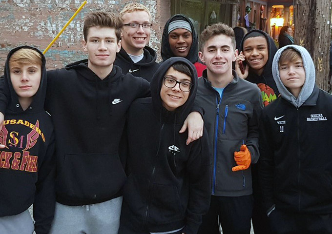 Lorenzo with his group of friends at Scecina Memorial High School