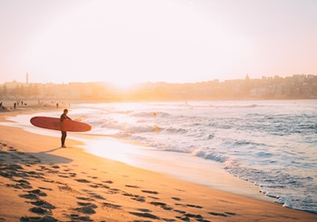 surfer student on Australia beach