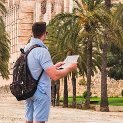 Student visiting beautiful Spanish Architecture