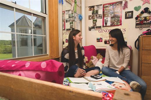 Girls hangout in dorm room