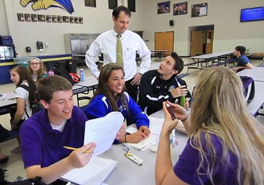 Rockford Christian High School students study for an exam