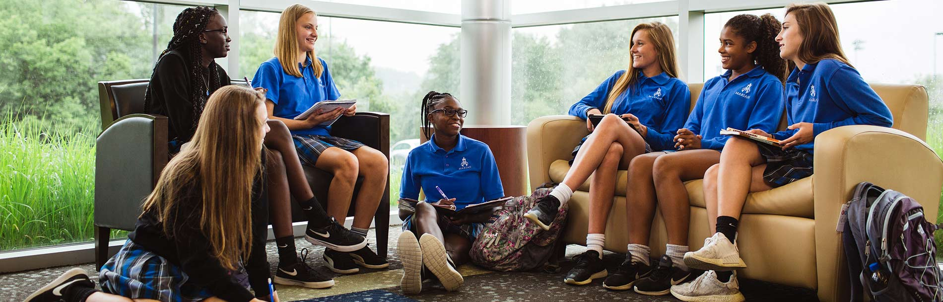 Marian High School students gather to study.