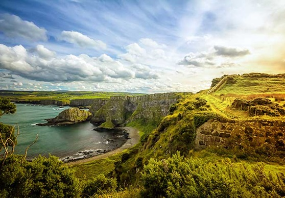 The famous cliffs and shoreline of Ireland