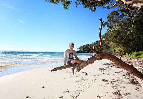 Enjoying the Australian beach and warm weather.