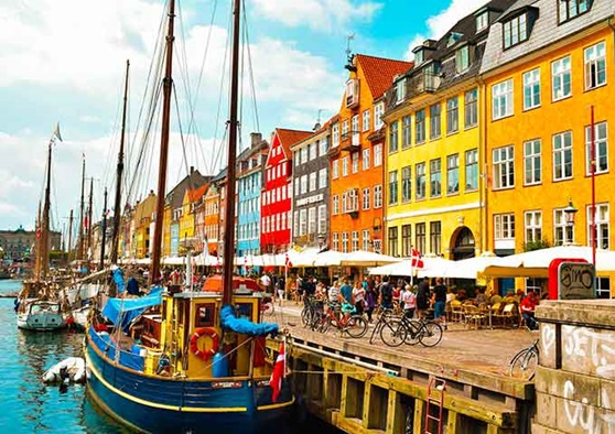 The canal boats in the Denmark capital of Copenhagen.