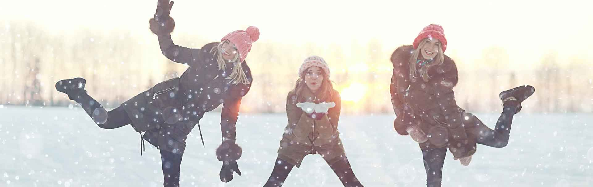 Students in Finland playing in the snow.